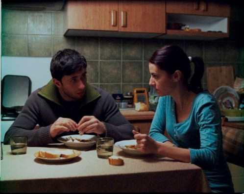 High drama in the latest Romanian film -- two people eat dinner.